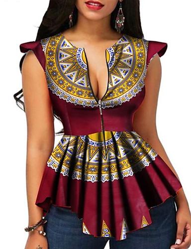 voordelige Damesbovenkleding-Dames Vintage / Standaard T-shirt Geometrisch Zwart US8
