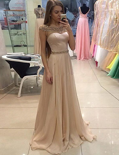 cheap Evening Dresses-A-Line Jewel Neck Sweep / Brush Train Chiffon Formal Evening Dress with Crystals by LAN TING Express