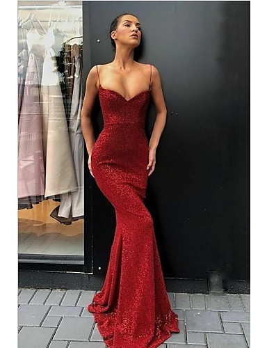 voordelige Maxi-jurken-Dames Verfijnd Schede Jurk - Effen, Pailletten Asymmetrisch