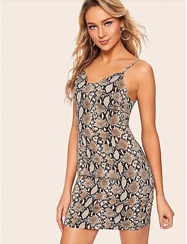 hesapli Seksi Elbiseler-Kadın's Temel Kılıf Elbise - Leopar, Desen Diz üstü