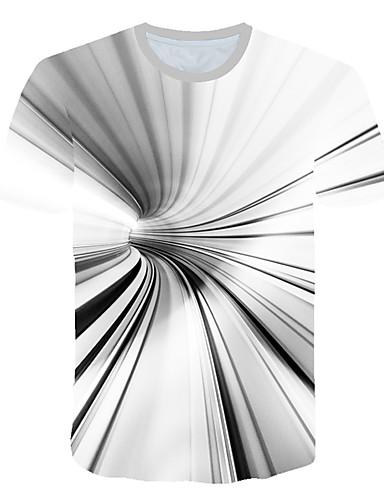 Hombre Estampado Camiseta A Rayas / Bloques / 3D Blanco XXXXL