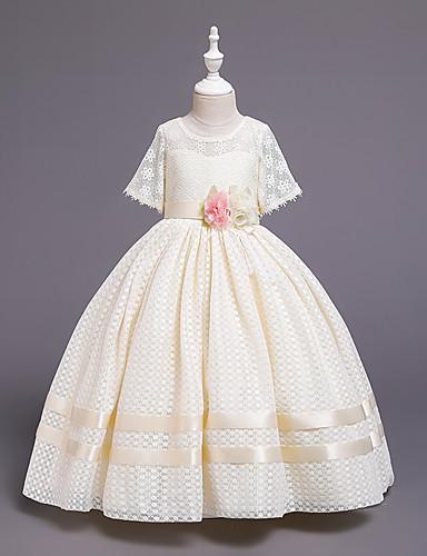 נסיכה עד הריצפה שמלה לנערת הפרחים  - כותנה / תחרה / סאטן שרוולים קצרים עם תכשיטים עם אפליקציות / תחרה / חגורה על ידי LAN TING Express