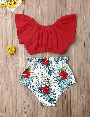 סט של בגדים כותנה קצר שרוולים קצרים דפוס פרחוני פעיל / בסיסי בנות תִינוֹק / פעוטות