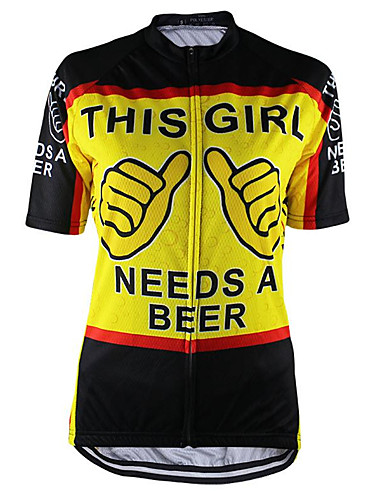 cheap Cycling Clothing-Men's Short Sleeve Cycling Jersey Black / Yellow Novelty Funny Bike Top UV Resistant Breathable Moisture Wicking Sports Terylene Mountain Bike MTB Road Bike Cycling Clothing Apparel / Micro-elastic