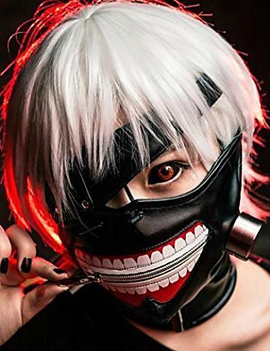 billige Anime Cosplay Tilbehør-Maske Inspirert av Tokyo Ghoul Ken Kaneki Anime Cosplay-tilbehør Maske Lær Halloween-kostymer