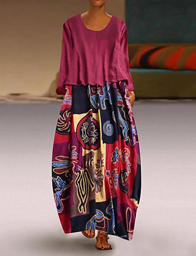 abordables Robes Femme-Femme Maxi Balançoire Robe - Mosaïque Bleu Rouge Jaune XXXL XXXXL XXXXXL Manches Longues