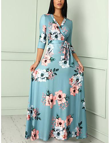 billige Blomstrede mønstre-Dame Boheme Elegant Swing Kjole - Blomstret, Blondér Maxi
