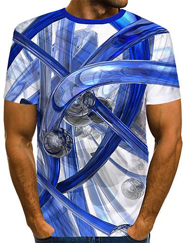 billige T-shirts og undertrøjer til herrer-Herre - Farveblok / 3D / Grafisk Trykt mønster Gade / overdrevet T-shirt Hvid US40