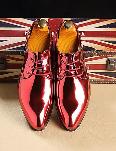 billige Oxford-sko til herrer-Herre Formell Sko Lakklær Vår sommer / Høst vinter Forretning / Britisk Oxfords Gull / Rød / Blå / Fest / aften / Fest / aften