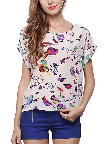 abordables Hauts pour Femmes-Tee-shirt Femme, Géométrique Beige