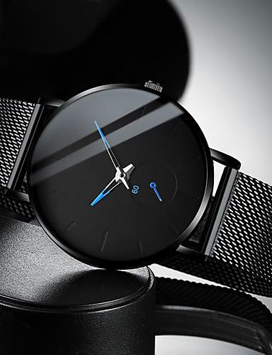 Недорогие Нержавеющая сталь-Муж. Нарядные часы Кварцевый Современный Стильные Нержавеющая сталь Черный / Серебристый металл 30 m Защита от влаги Повседневные часы Cool Аналоговый На каждый день Мода -  / Один год