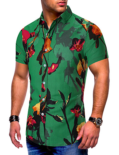 cheap Men's Shirts-Men's Causal Casual Basic Shirt - Tribal Print Green XXXL
