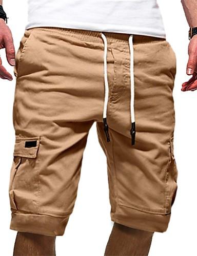 cheap 7/15-Men's Basic Chinos / Shorts Pants - Solid Colored Black Gray Khaki L XL XXL