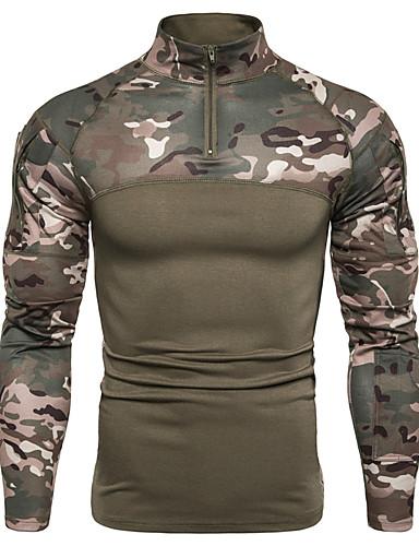 voordelige Heren T-shirts & tanktops-Heren Militair EU / VS maat - T-shirt camouflage Zwart / Lange mouw