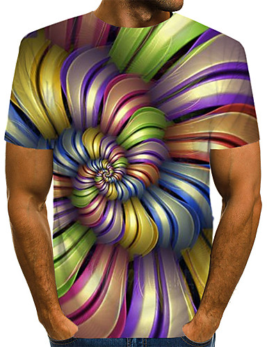 voordelige Uitverkoop-Heren Street chic / overdreven Print EU / VS maat - T-shirt Club Kleurenblok / 3D / Grafisch Ronde hals Regenboog / Korte mouw