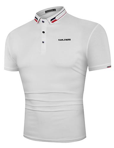 3D צווארון חולצה בסיסי כותנה, Polo - בגדי ריקוד גברים דפוס שחור / שרוולים קצרים