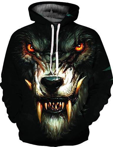 cheap 8/15-Men's Basic Loose Hoodie Jacket - 3D / Animal Hooded Black L