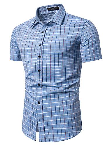 voordelige Herenoverhemden-Heren Vintage / Standaard Print Overhemd Katoen, Werk Ruitjes / Blokken Klassieke boord Licht Blauw