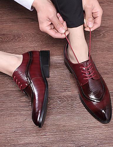 billige Oxford-sko til herrer-Herre Bullock Sko PU Vår sommer / Høst vinter Forretning / Britisk Oxfords Svart / Gul / Rød / Fest / aften / Fest / aften