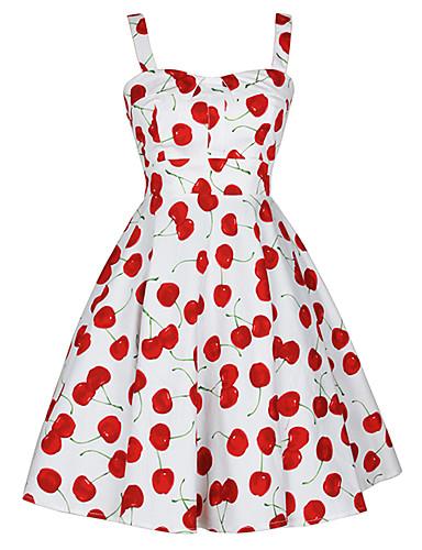 abordables Robes Femme-Femme Rétro Vintage Au dessus du genou Patineuse Robe - Lacet, Fruit Blanc S M L Sans Manches