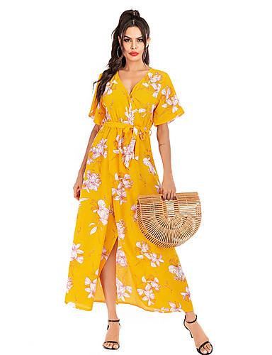 voordelige Maxi-jurken-Dames Standaard Street chic Wijd uitlopend Jurk - Bloemen Geometrisch, Print Midi