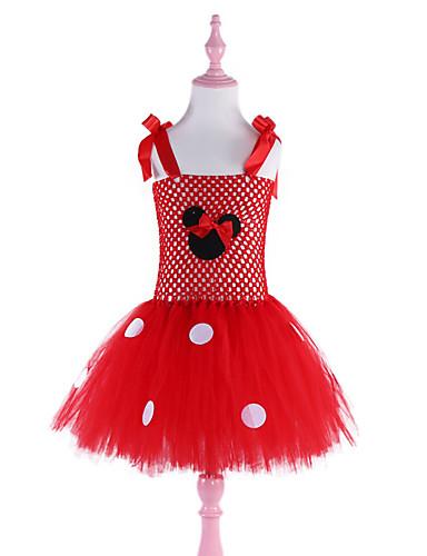 שמלה עד הברך ללא שרוולים גב חשוף / רשת / טלאים מנוקד / אנימציה אדום פעיל / סגנון חמוד בנות ילדים / פעוטות