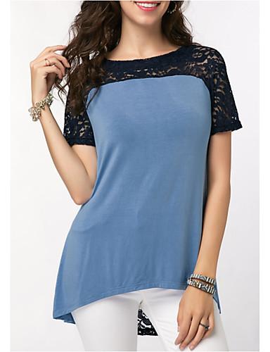abordables Hauts pour Femme-Tee-shirt Femme, Bloc de Couleur - Coton Dentelle / Maille / Mosaïque Bleu clair