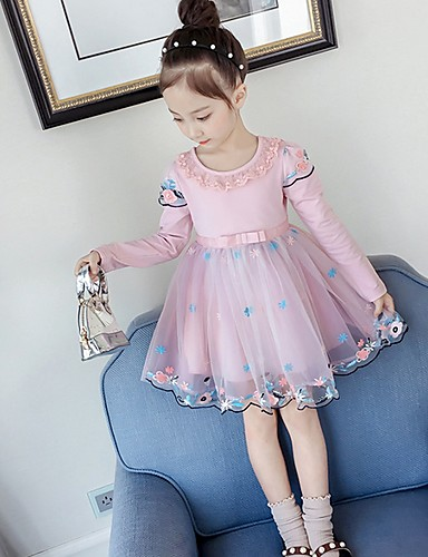 גזרת A באורך  הברך שמלה לנערת הפרחים  - טול שרוול ארוך עם תכשיטים עם דוגמא \ הדפס על ידי LAN TING Express