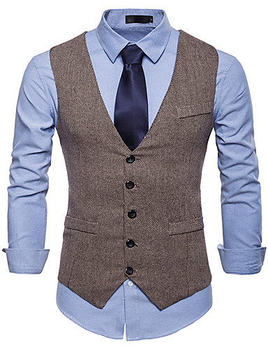 hesapli Yelekler-Poli&Pamuk Karışımı Düğün / Günlük Giyim Yelekler / İş Solid / Tek Renk