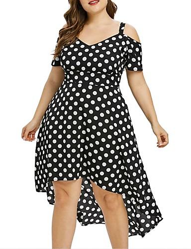 voordelige Grote maten jurken-Dames Street chic Wijd uitlopend Jurk - Polka dot, Print Asymmetrisch