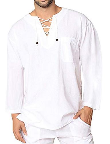 hesapli Erkek Gömlekleri-Erkek Yuvarlak Yaka Tişört Solid Temel AB / ABD Beden Koyu Mavi / Uzun Kollu