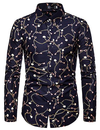 voordelige Herenoverhemden-Heren Street chic Grote maten - Overhemd Geometrisch Klassieke boord Marineblauw
