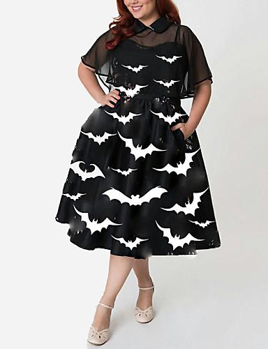 voordelige Grote maten jurken-Dames Verfijnd Elegant A-lijn Klein en zwart Jurk - Geometrisch dier, Met ruches Split Print Midi