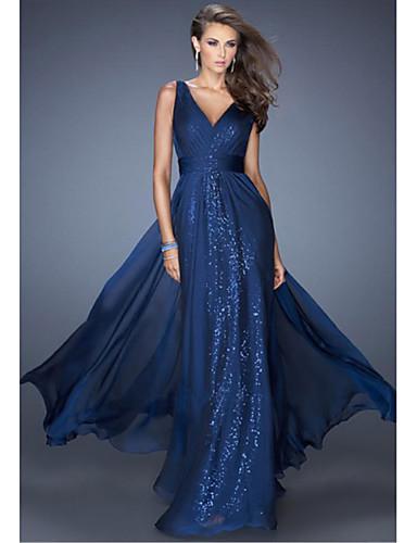 voordelige Grote maten jurken-Dames Elegant A-lijn Jurk - Polka dot, Kant Diepe V-hals Maxi