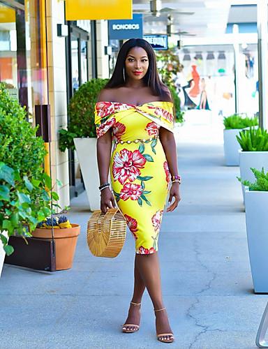 Kadın's Bandaj Elbise - Çiçekli Midi