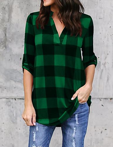 billige Dametopper-Bomull Skjortekrage Skjorte Dame - Rutet, Lapper Gatemote Svart & Rød / Svart og hvit Svart