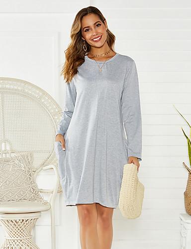 Kadın's Temel Kombinezon Elbise - Solid Diz üstü