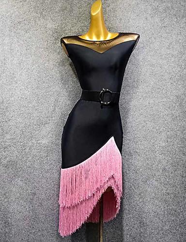 povoljno Odjeća i obuća za ples-Latino ples Haljine Žene Seksi blagdanski kostimi Til S resicama Bez rukávů Haljina