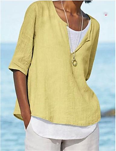 billige Dametopper-T-skjorte Dame - Ensfarget Grunnleggende Lyseblå