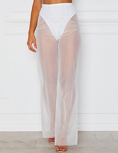 abordables Pantalons Femme-Femme Chic de Rue Ample / Chino Pantalon - Couleur Pleine Noir / Blanc, Maille / Mosaïque Blanc Noir L XL XXL
