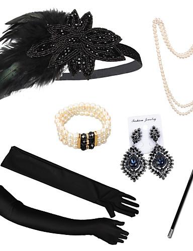 hesapli Kostümler, Aksesuarlar ve Takılar-The Great Gatsby Kostüm Aksesuar Setleri Eldivenler Kolye Retro / Vintage 1920s Gatsby Kolye Küpe Uyumluluk Parti / Kokteyl Festival Cadılar Bayramı Karnaval Kadın's Kostüm takısı / Başlık / Başlık