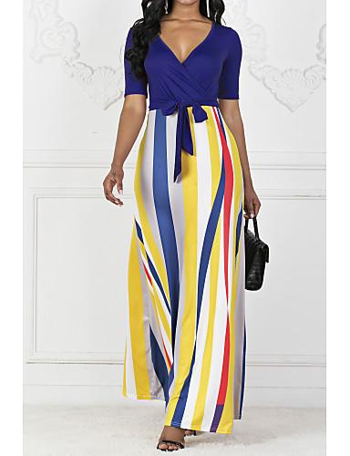 povoljno Ženske haljine-Žene Swing kroj Haljina Prugasti uzorak Maxi