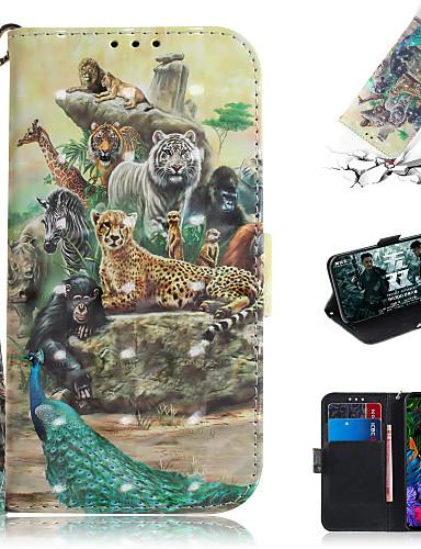 Pouzdro Uyumluluk LG LG V40 / LG G8 Cüzdan / Kart Tutucu / Satandlı Tam Kaplama Kılıf Hayvan / 3D Karikatür PU Deri