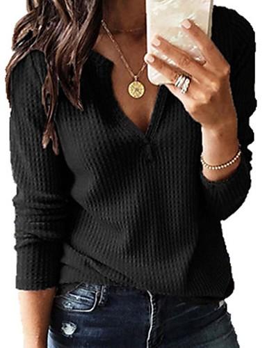 povoljno Ženske majice-Žene Jednobojni Dugih rukava Pullover, V izrez Navy Plava / Sive boje / Bijela XXXL / XXXXL / XXXXXL