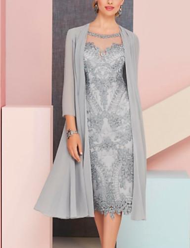 voordelige Wrap Dresses-Tweedelig Met sieraad Over de knie Chiffon Bruidsmoederjurken met Kant door LAN TING Express / Wrap inbegrepen