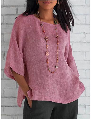 billige Nyt efterårstøj-Dame - Ensfarvet T-shirt Lyserød