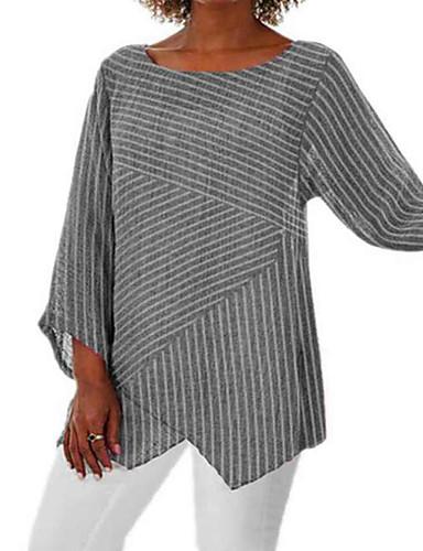 abordables Hauts pour Femme-Tee-shirt Femme, Rayé Mosaïque / Imprimé Rétro Vintage / Basique énorme Blanche