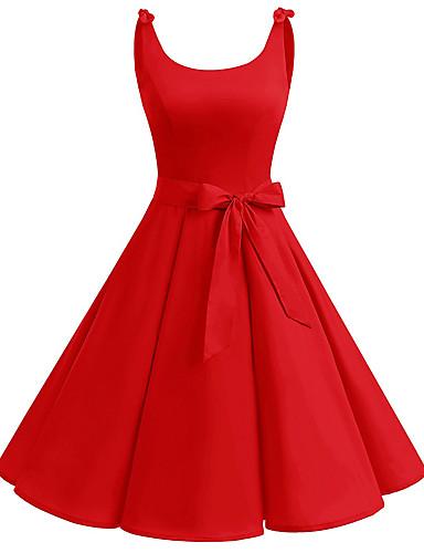 abordables Robes Femme-Femme Rétro Vintage Basique Midi Noir Balançoire Robe - Noeud Cordon, Couleur Pleine Noir Rouge Marine L XL XXL Sans Manches