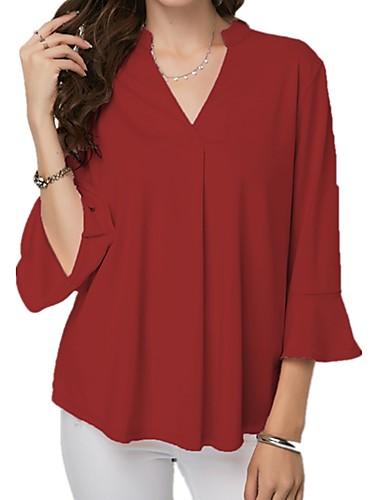 povoljno Ženske majice-Veći konfekcijski brojevi Bluza Žene - Osnovni Kauzalni / Plus veličine Jednobojni V izrez Nabori Svjetloplav