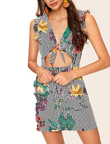 Kadın's Sokak Şıklığı Zarif Bandaj Elbise - Çizgili Zıt Renkli, Şalter Kırk Yama Diz üstü Siyah ve Beyaz